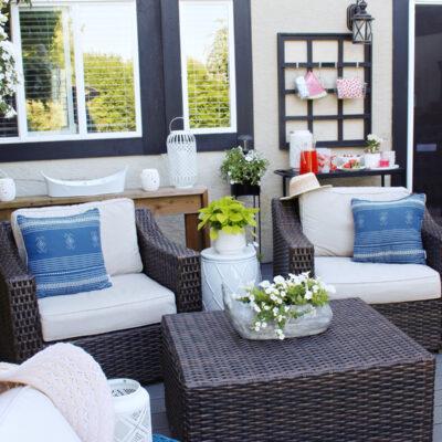 Backyard patio with club house chairs.