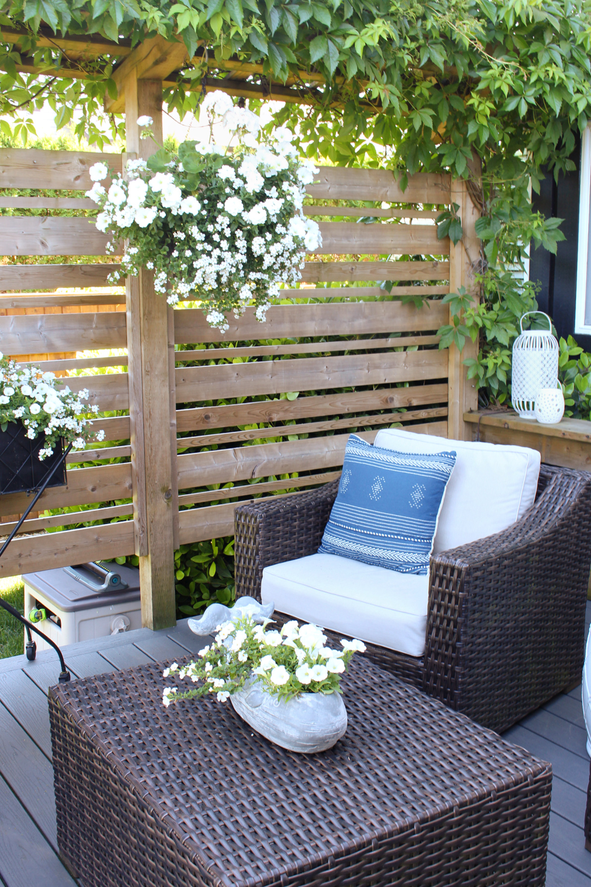 Backyard patio with wood privacy screen.