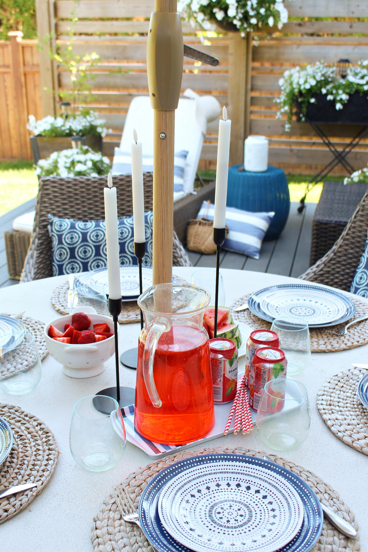 Summer tablescape on a round outdoor table.