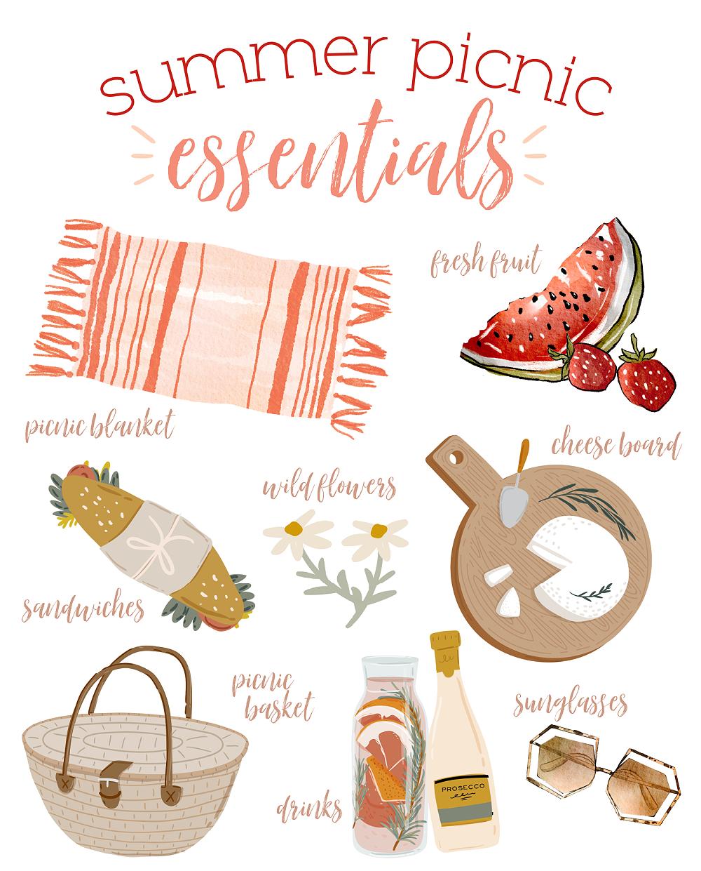 Summer Picnic Essentials free summer printable.