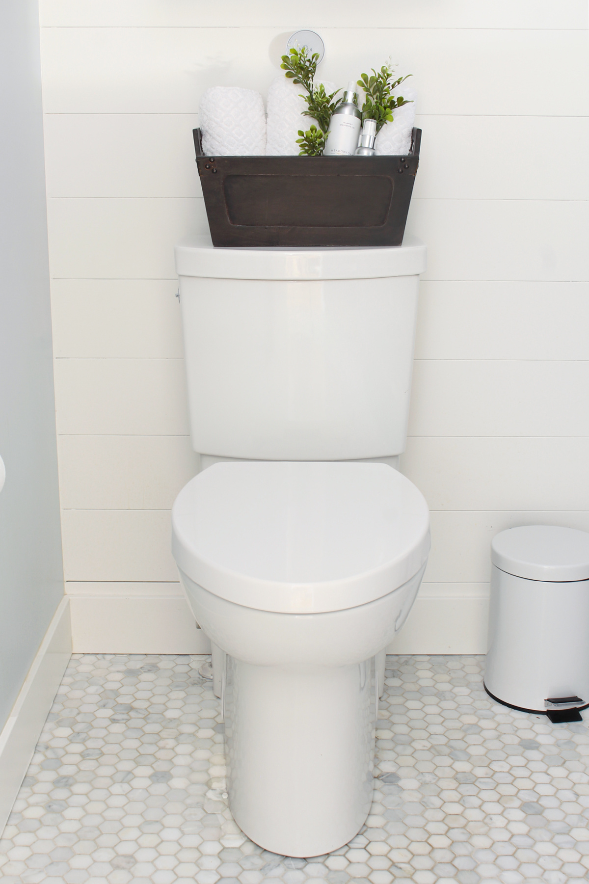 American Standard Studio Touchless toilet in a farmhouse style bathroom.