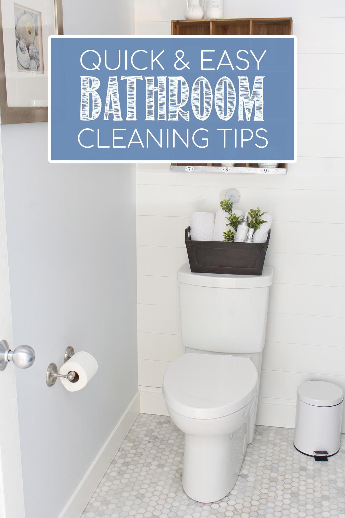 Farmhouse style bathroom with touchless flush toilet.