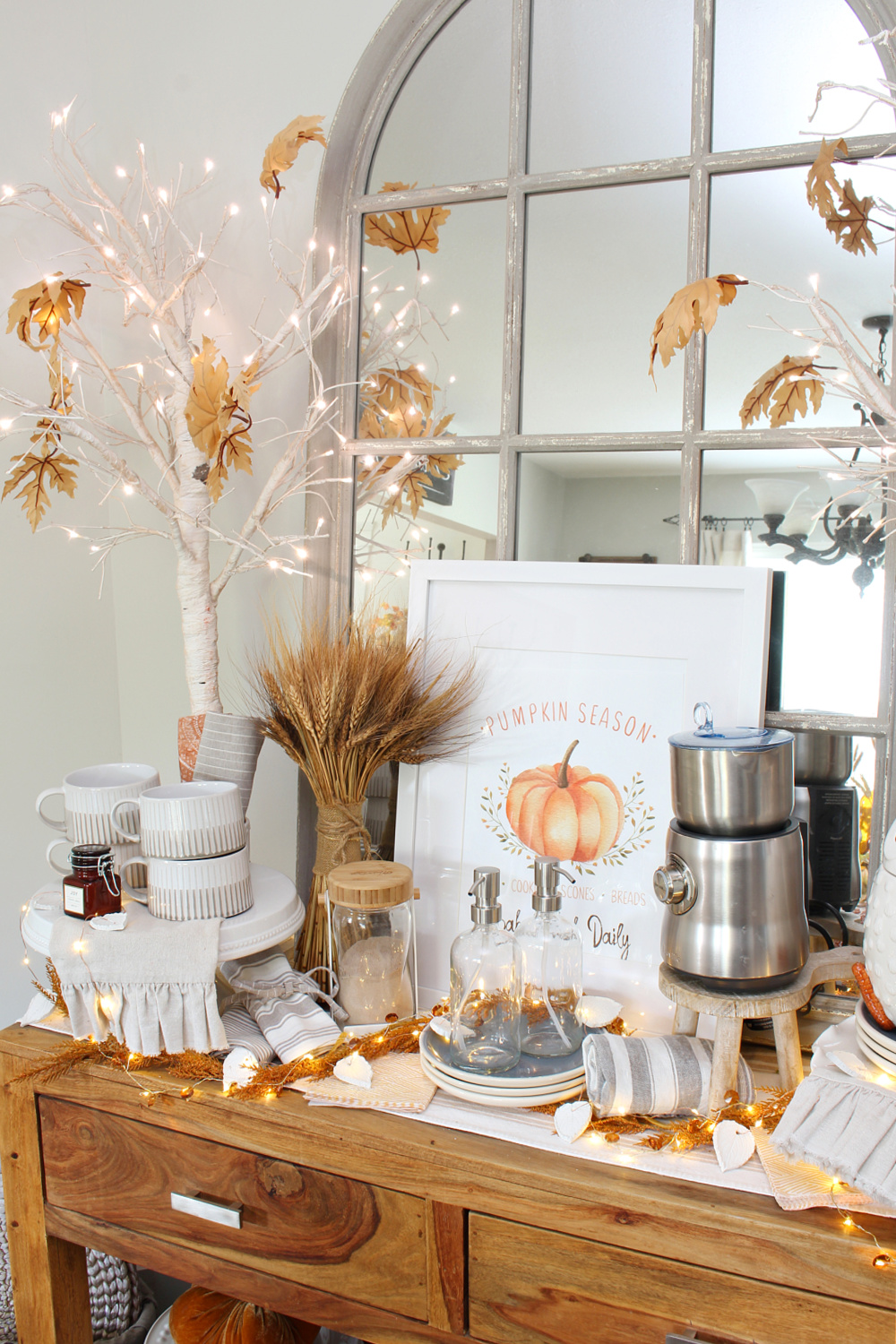 Fall vignette with DIY air dry clay leaves twinkle lights.