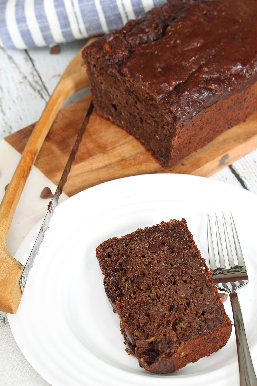 Chocolate zucchini bread on a plate.