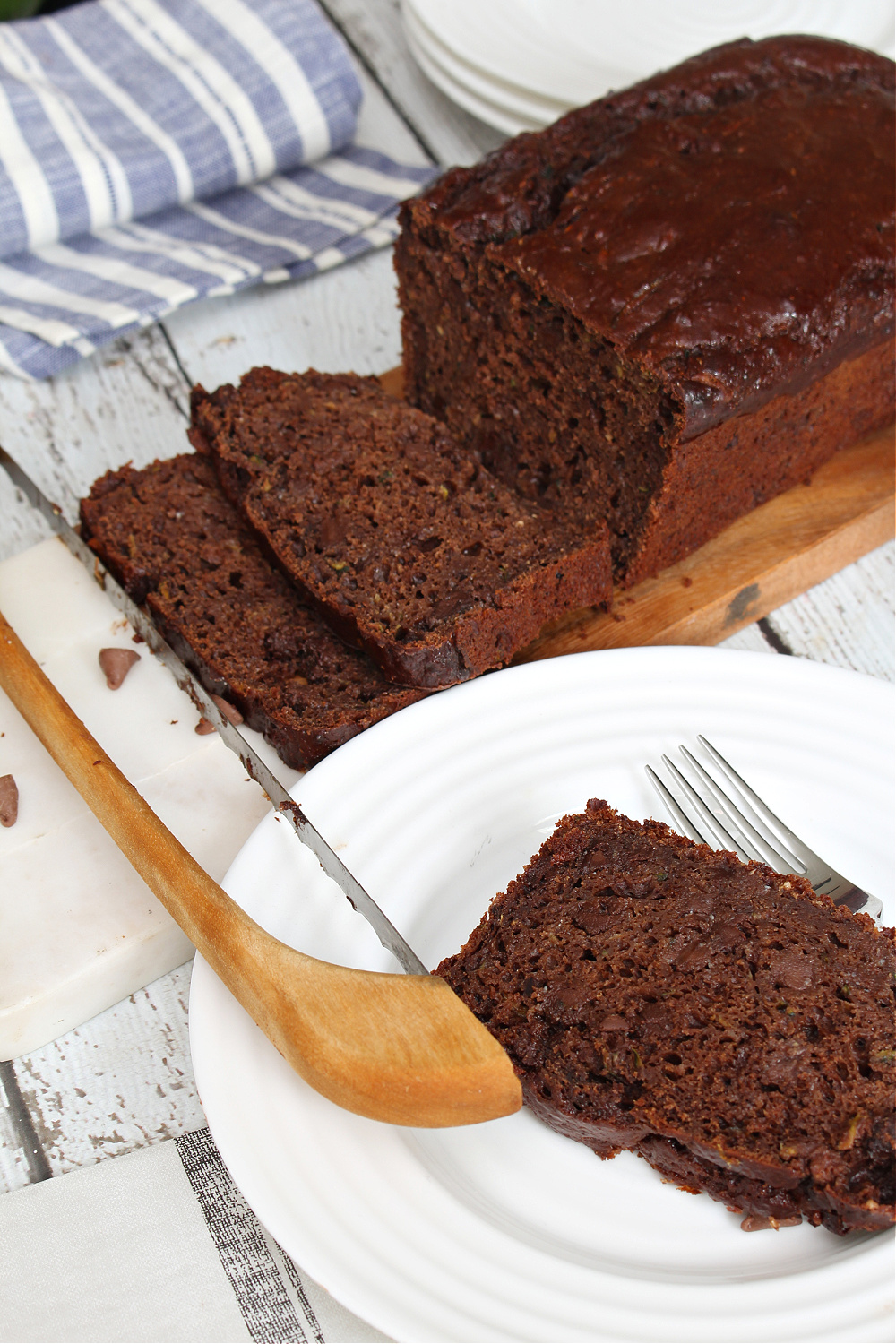 Slices of double chocolate zucchini loaf.
