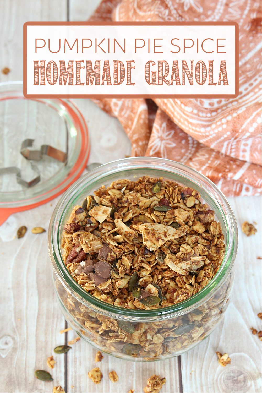 Homemade pumpkin spice granola in a Wick jar.