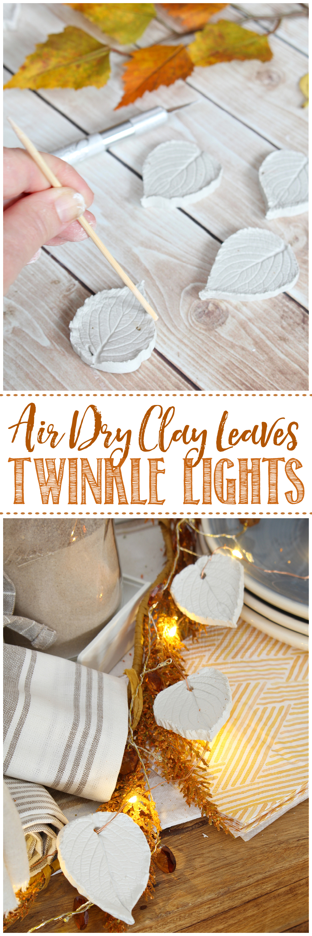 Air dry clay leaves used for pretty fall twinkle lights.