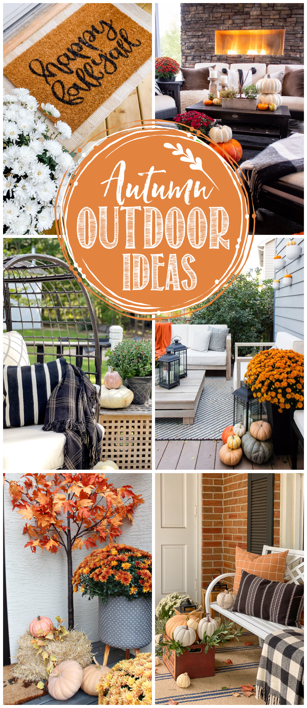 Collection of beautiful fall outdoor decor ideas.