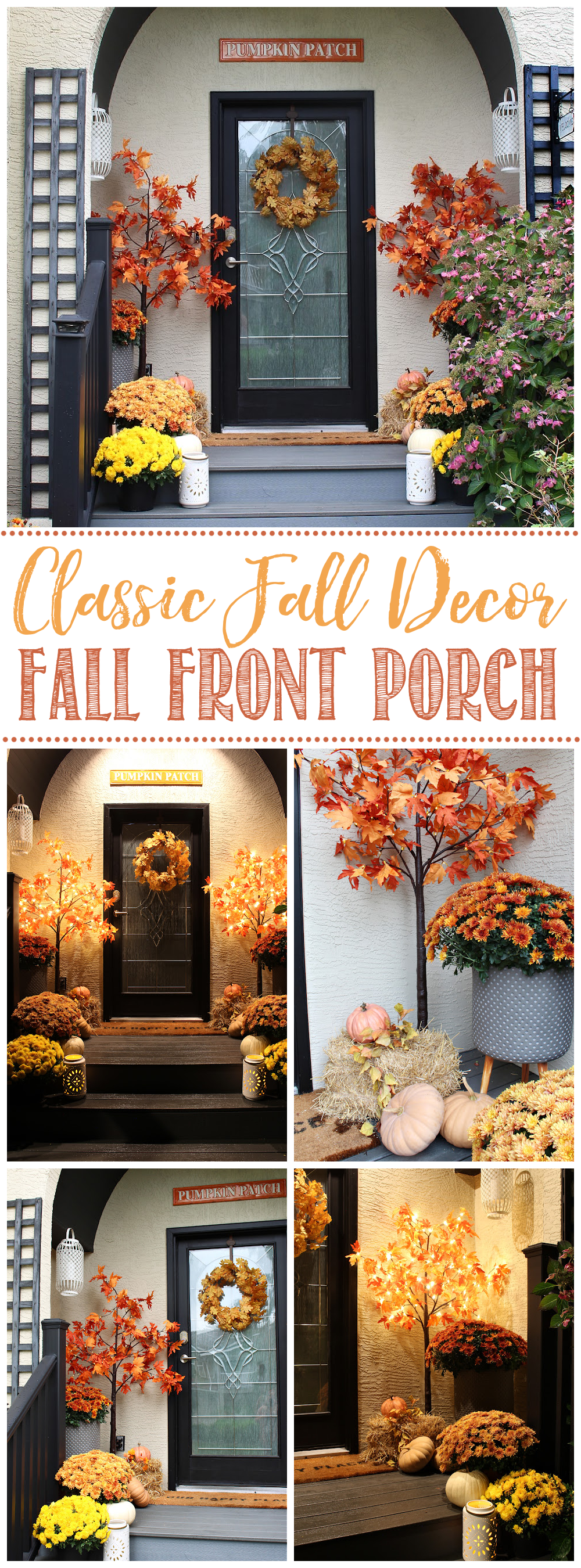 Fall front porch with mums, pumpkins and lighted trees.
