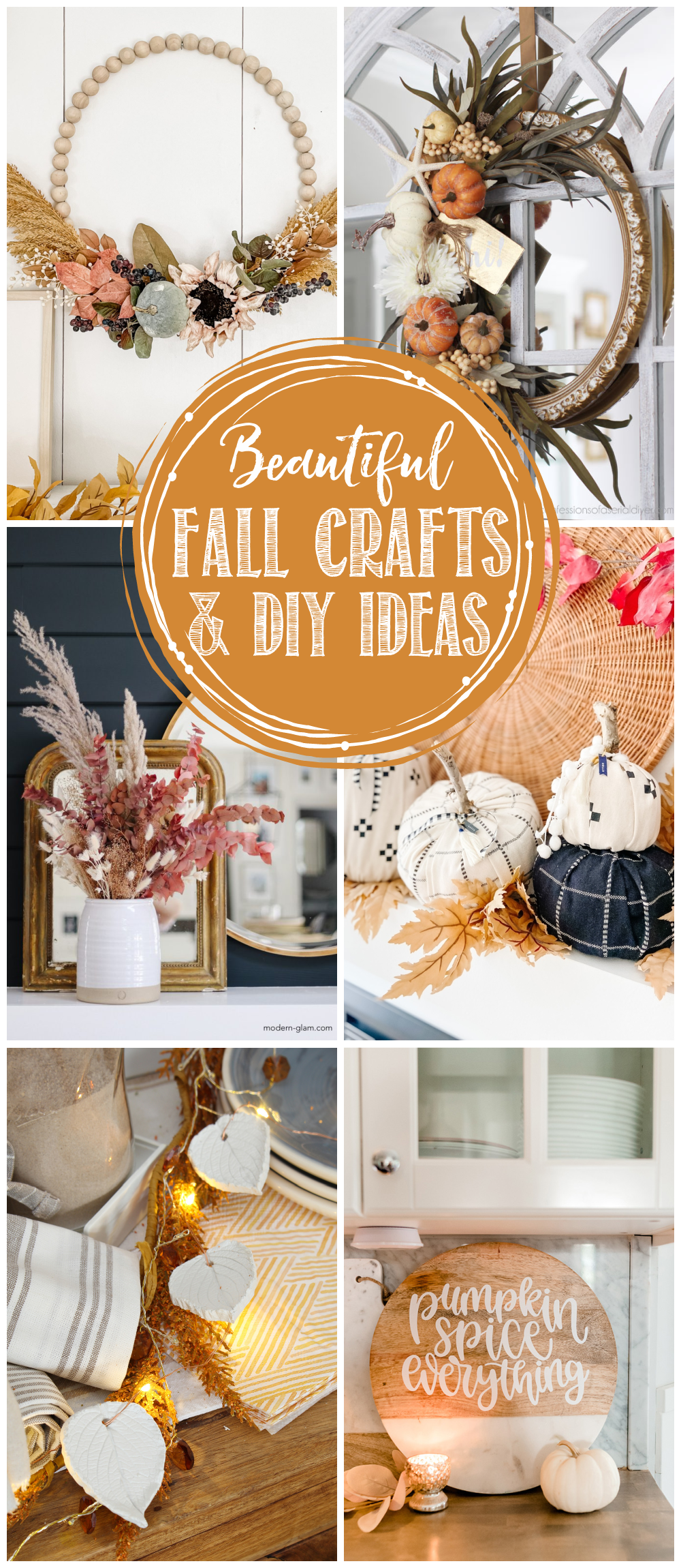 Collection of beautiful fall crafts and DIY ideas.
