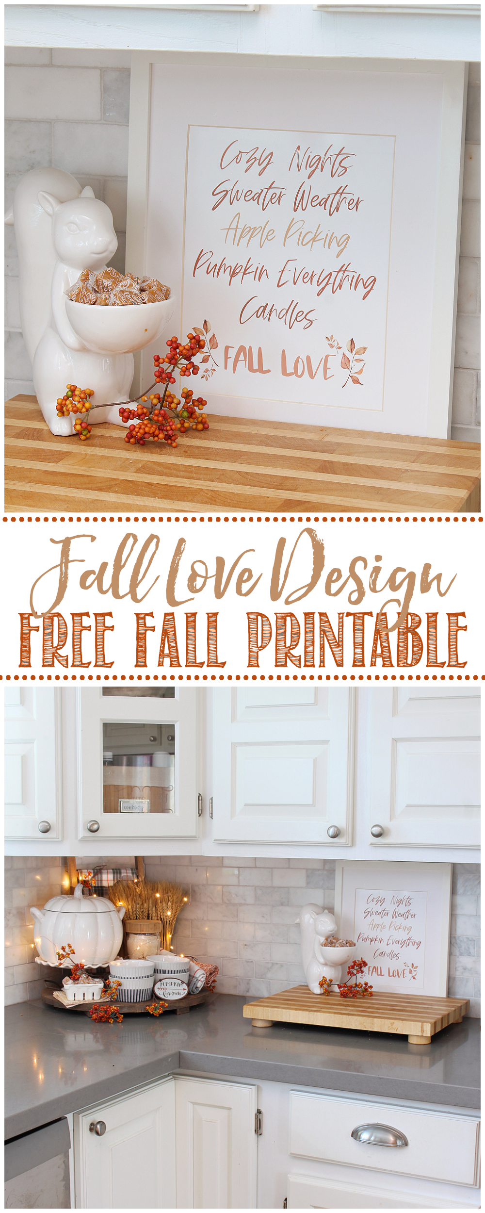 Fall Love design free fall printable in a white frame with fall decor.