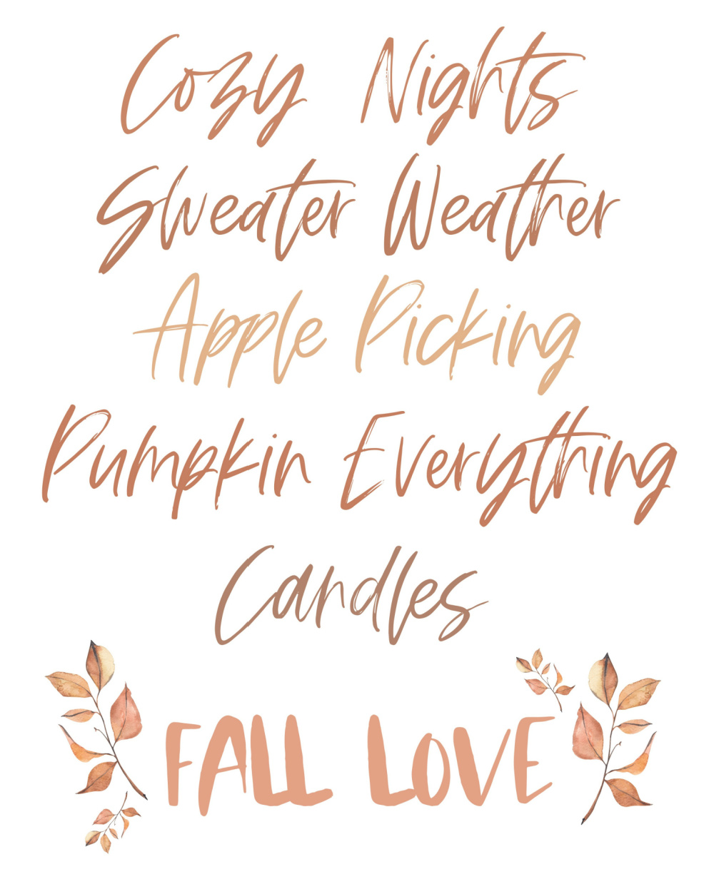 Cozy nights, sweater weather, apple picking, pumpkin everything, candles - Fall Love.