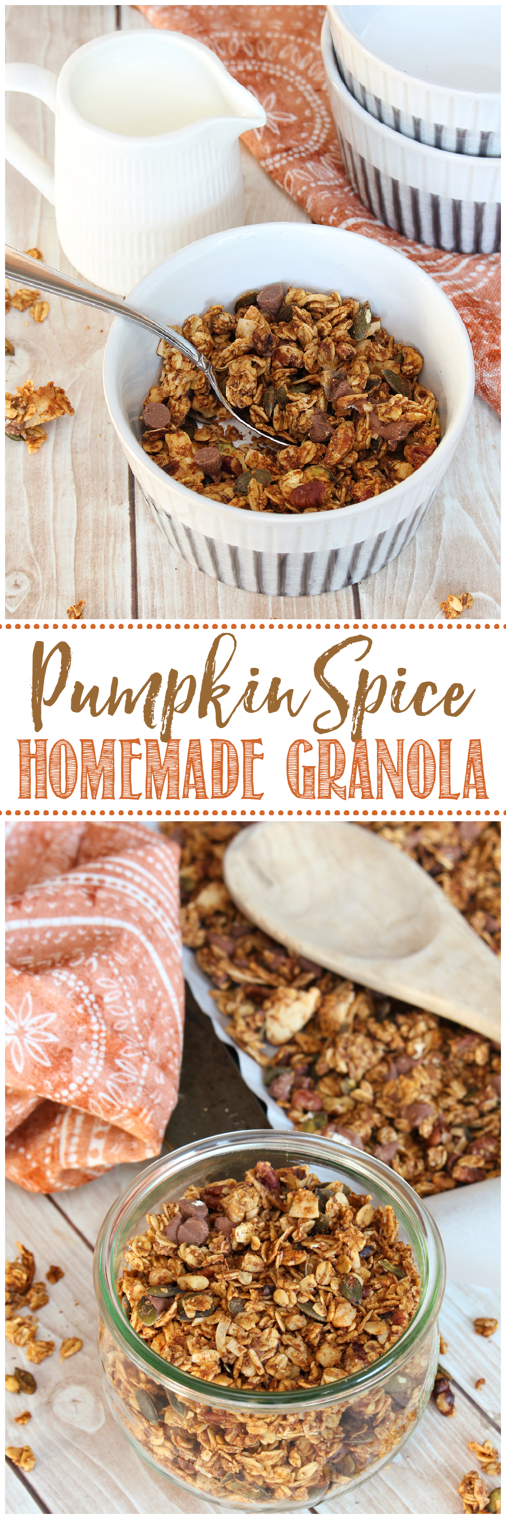 Pumpkin spice homemade granola in a bowl and Wick jar.