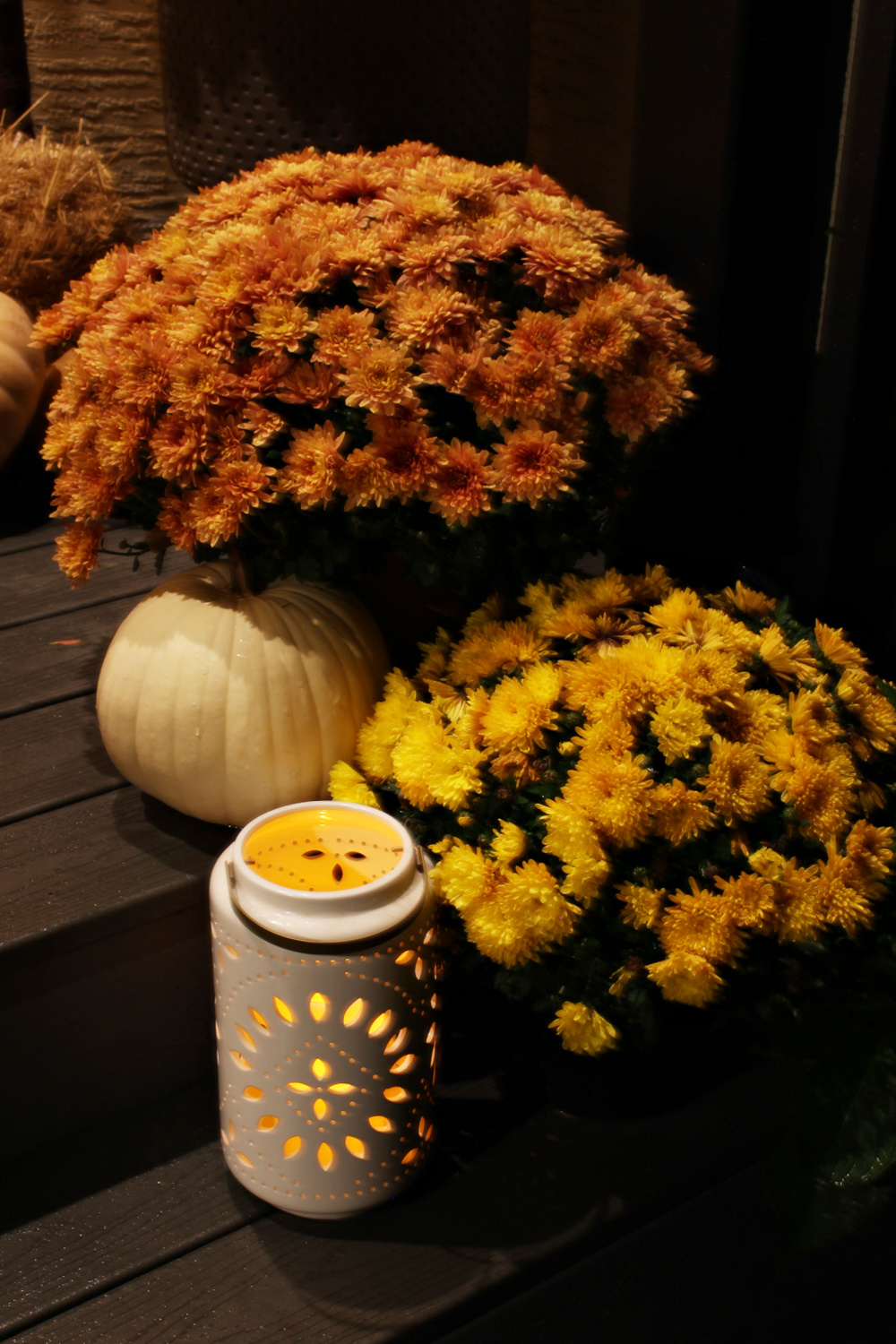 Fall porch at night with mums and candle lantern.