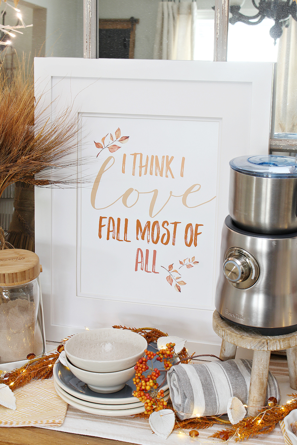 I Think I Love Fall Most of All free printable in a frame.