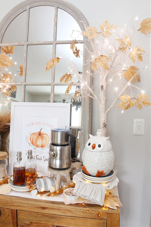 Fall coffee bar with owl cookie jar.