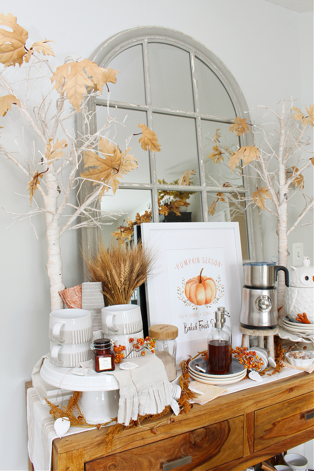 Coffee bar decorated for fall.