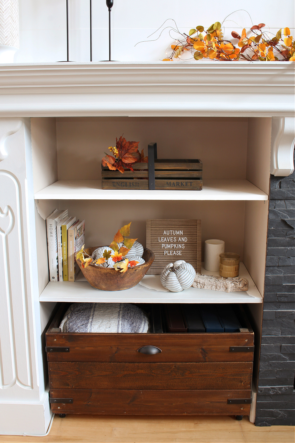 Shelves decorated for fall.