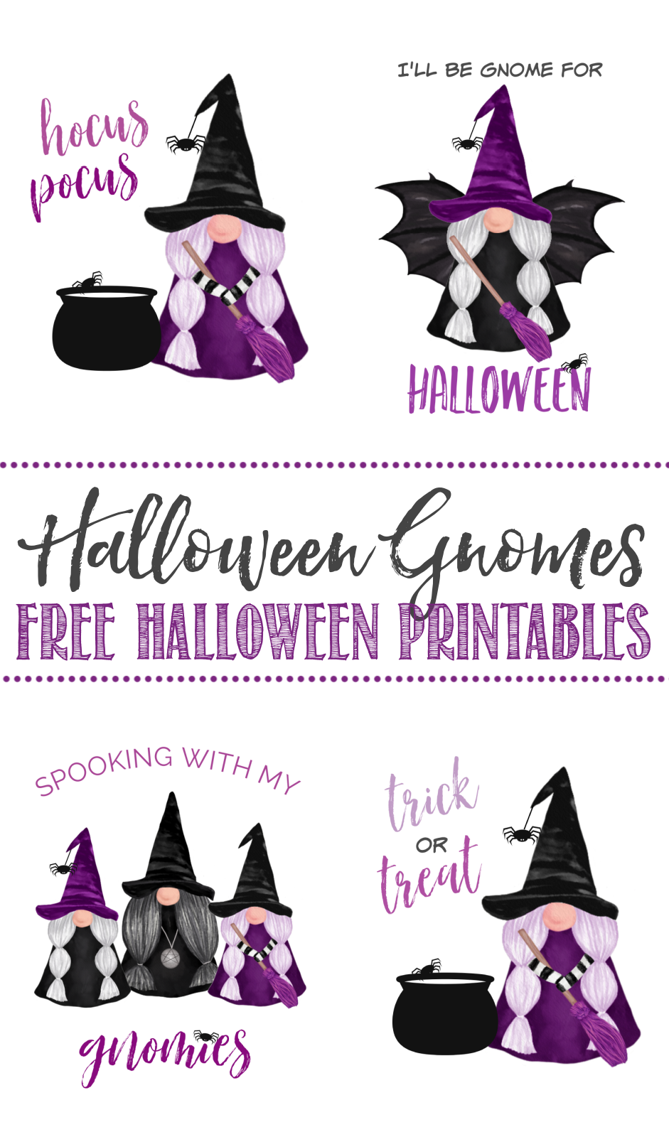 Collection of free Halloween gnome printables.