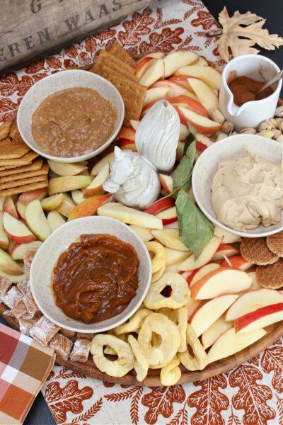 Delicious apple snack board charcuterie.
