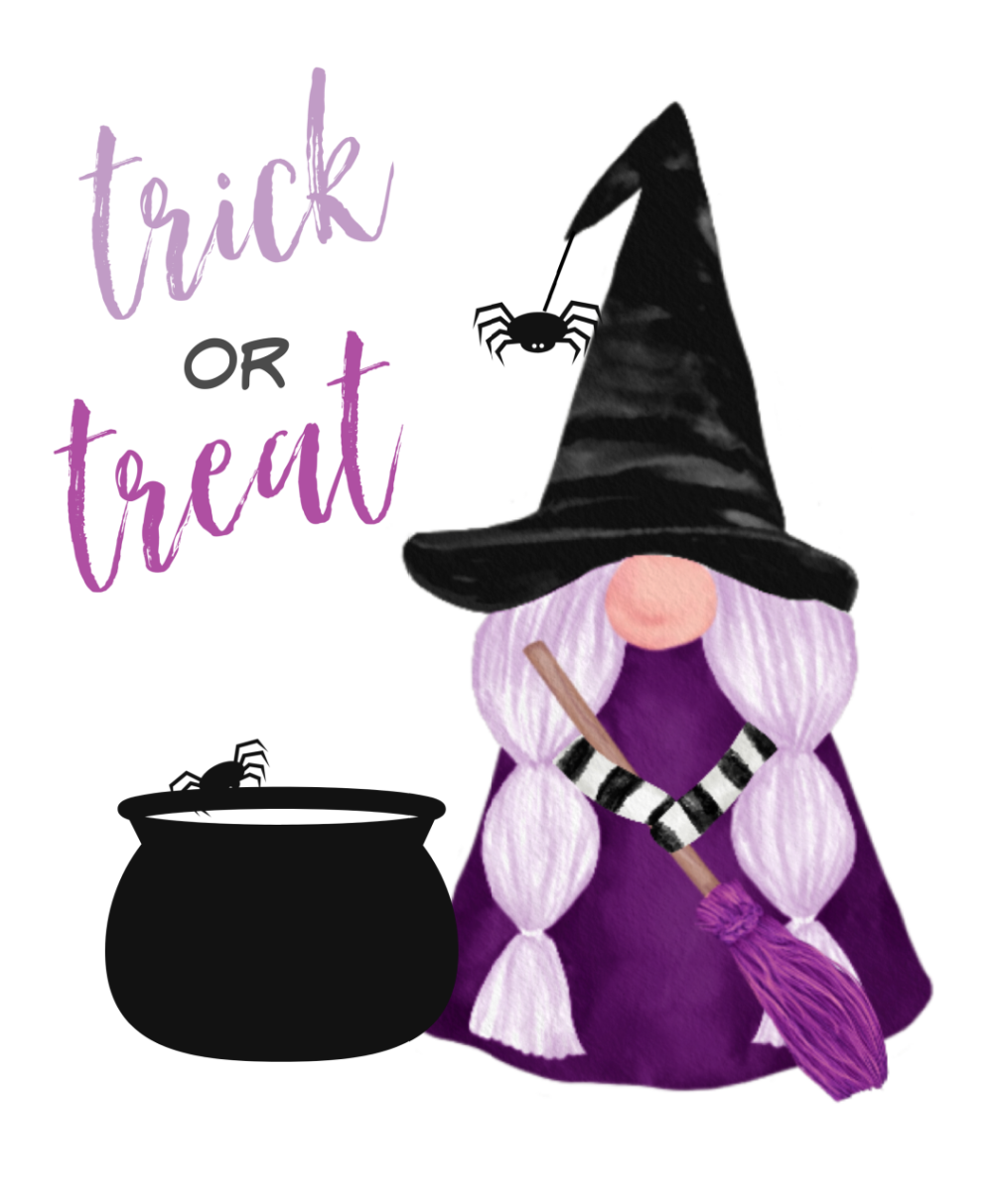 Cute Trick ro Treat Halloween gnome printable